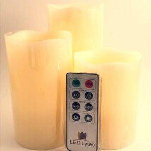 LED Lytes Battery Operated Candles, Set of 3 Ivory